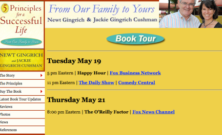 Gingrich book tour 5-19