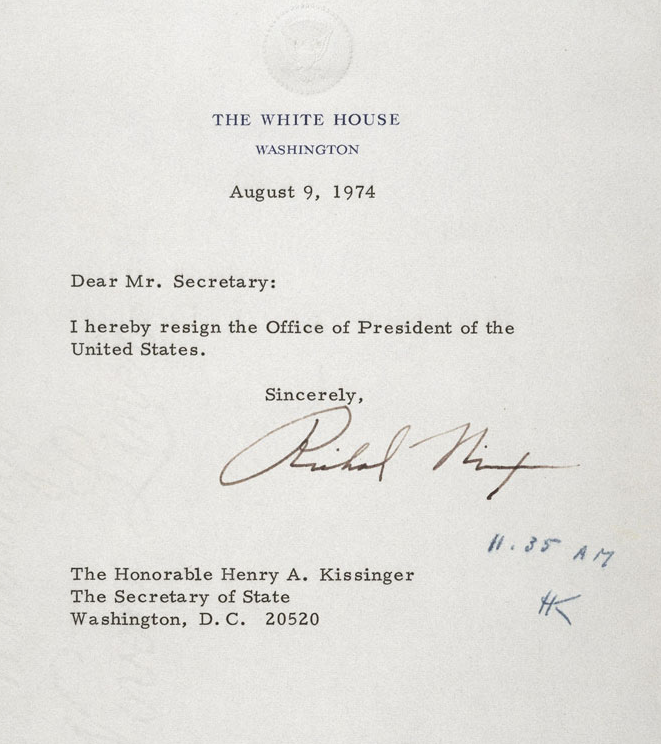 ... Office of President of the United States » Nixon Resignation Letter