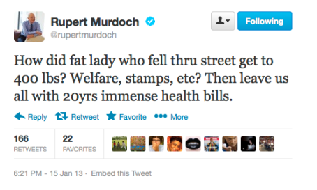 Rupert Murdoch Tweet re fat lady falling through concrete