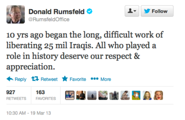 Rumsfeld Tweet re Iraq
