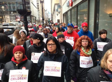 Teachers Marching in Chicago 3-27-13