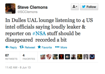 Steve Clemons tweet re disappearing greenwald