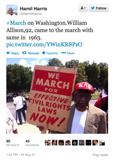 March on Washington sign 50 years HamillHarris on Twitter later