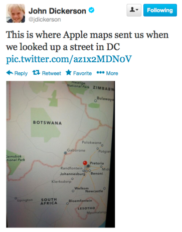Tweet of the Day re Map Apps 11-23-13