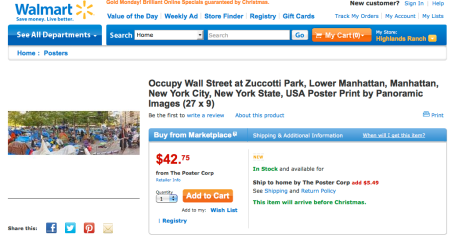 Walmart selling Occupy Wall Street posters