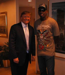 Dennis rodman with Donald Trump via Wikipedia