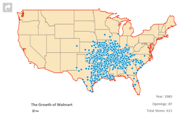 Walmart growth circa 1983 via mashable.com