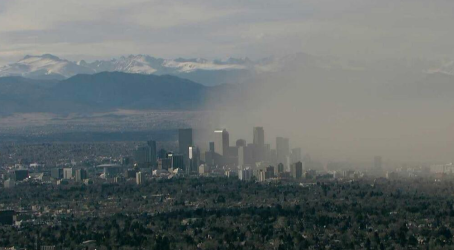 Dust Over Downtown Denver 2-24-14 via PinointWX via BoulderNWS on Twitter