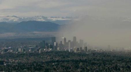 Dust Over Downtown Denver 2-24-14 via PinointWX via BoulderNWS on Twitter