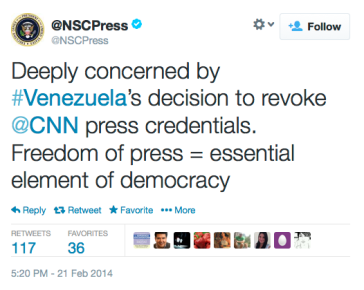 National Security Council Tweet re Press freedom in Venezuela