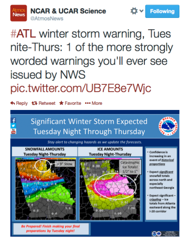 NCAR Tweet re ATL storm