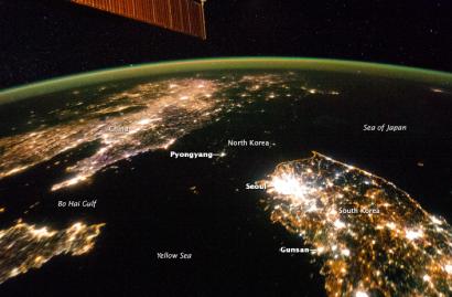 North Korea at night via earthobservatory.nasa.gov