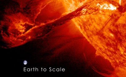 Solar Flare Earth to scale via Space.com