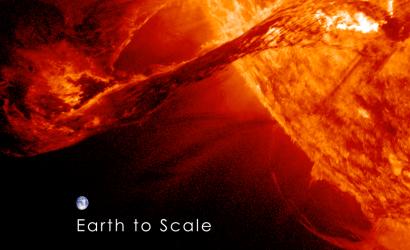 Solar Flare Earth to scale via Space.com