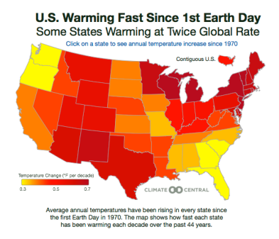 Avg. Temp Increase Since First Earth Day via OneEarth.org