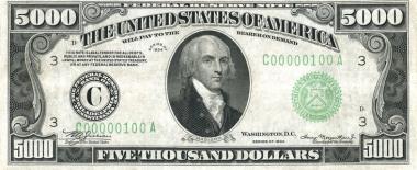 $5,000 bill