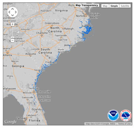 Natl Hurricane Center storm surge map 7-1-14