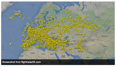 Planes Avoiding Ukranian Airspace tonight via Rt news