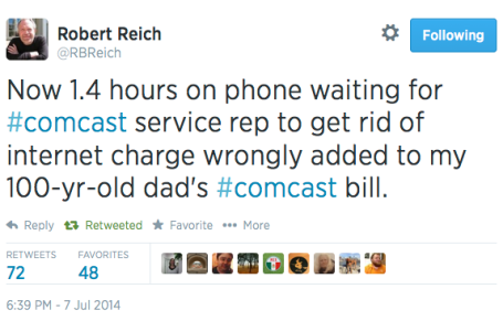 Robert Reich on Twitter re Comcast 7-7-14