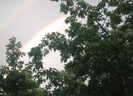 Double Rainbow out Kitchen Window 8-27-14