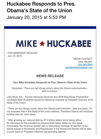 Hickabee re SOTU speech